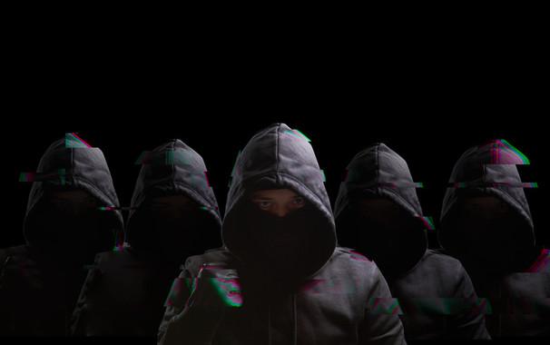 Many anonymous on black background
